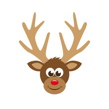 Cute Reindeer Cartoon Head With Red Nose