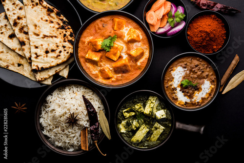 Fotografia, Obraz Indian Lunch / Dinner main course food in group includes Paneer Butter Masala, D