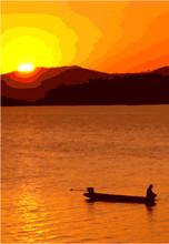 Sunset Boat Fisherman