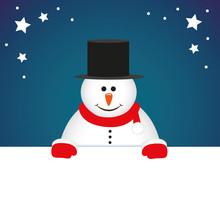 Cute Snowman Cartoon Christmas Postcard