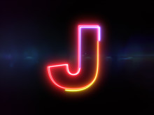 Letter J - Colorful Glowing Ou...