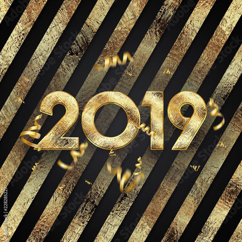 Creative background, 2019 Happy new year  Gold Numbers Design of