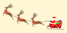 Vector Image Of Santa On Sleigh With Christmas Presents And His Flying Reindeers Isolated On Light Yellow Background.