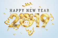 Creative Background, 2019 Happy New Year. Gold Numbers Design Of Greeting Card Of. Gold Shining Pattern. Happy New. Year Of The Yellow Pig, Golden Pig