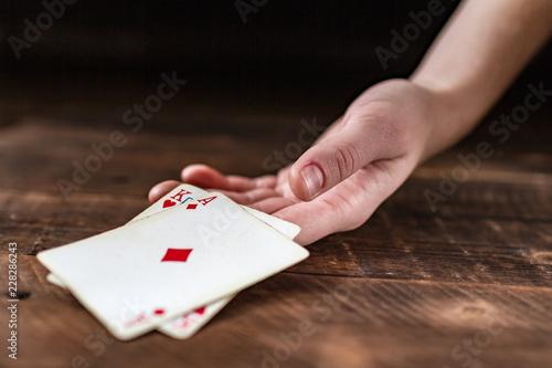 фотография  Card addiction. Dependence on poker, gambling. Gambling concept