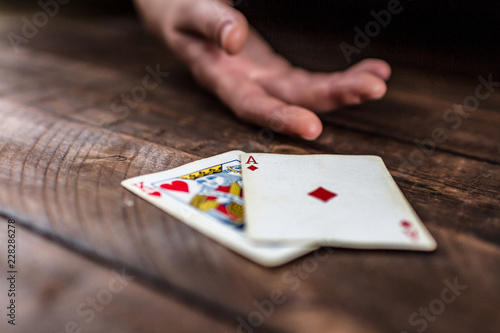 фотография  Card addiction. Dependence on poker, gambling. Gambling concept