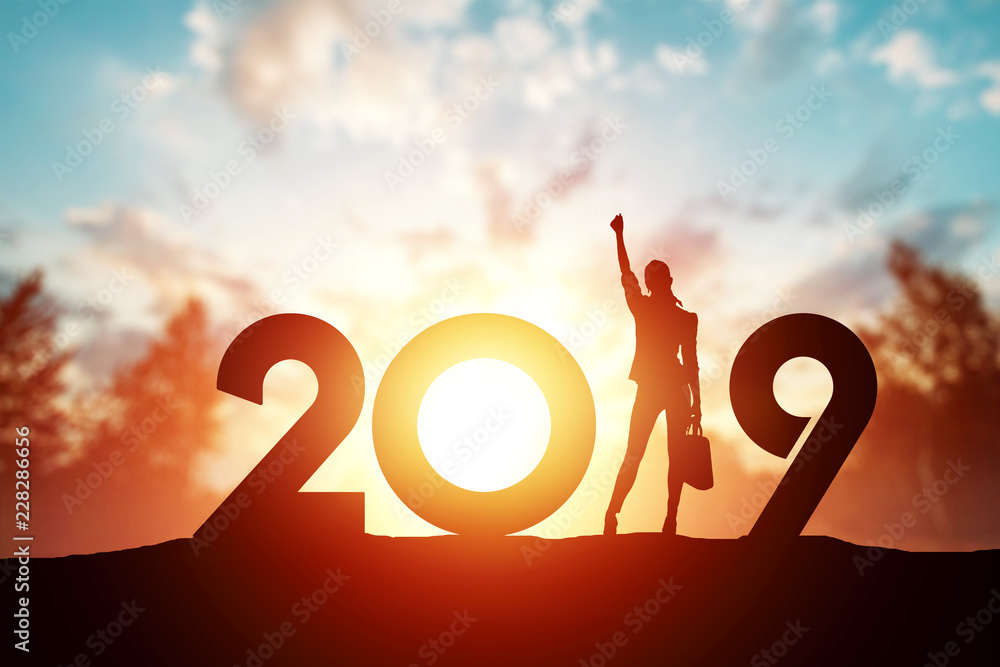 Fototapety, obrazy: Creative background, Silhouette young woman Enjoying on the hill and 2019 years while celebrating new year. Happy New Year 2019, copy space.