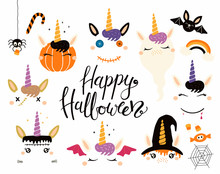 Halloween Set With Cute Unicorns, Pumpkin, Ghost, Witch, Vampire, Zombie, Frankenstein, Devil. Isolated Objects. Hand Drawn Vector Illustration. Flat Style Design Concept For Children Print Party