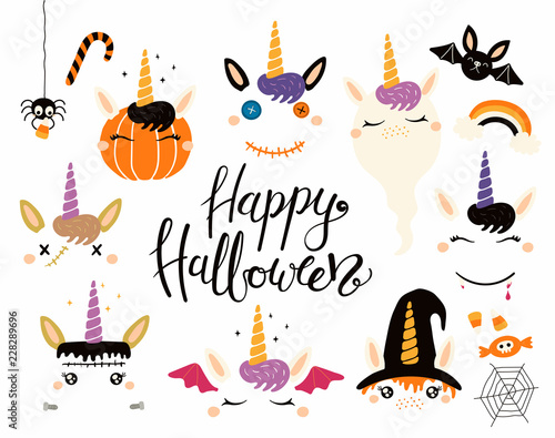 Montage in der Fensternische Abbildungen Halloween set with cute unicorns, pumpkin, ghost, witch, vampire, zombie, Frankenstein, devil. Isolated objects. Hand drawn vector illustration. Flat style design Concept for children print party