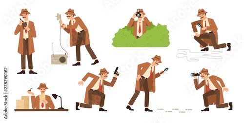 Foto  Bundle of detective with mustache looking through magnifying glass, sneaking, spying, solving crime, photographing