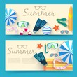 summer vecetion time horizontal banners vector illustration concept
