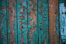 Old Wooden Door With Teal Paint