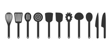 Cooking Utensil Set Of Tools. Kitchen Tools Black Isolated Vector Icons. Slotted Turner, Spoon, Knives, Whisk, Pasta Server Icons.