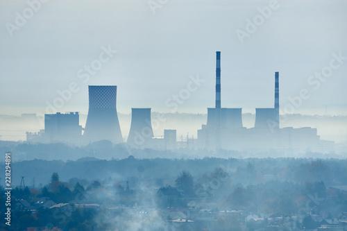Fototapeta Smog - Air pollution in industrial areas