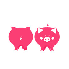 Cute Pink Pig Front And Back View. Symbol Of 2019 Chinese New Year.