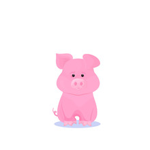 Funny Pink Pig Cartoon Character. Symbol Of 2019 Chinese New Year.