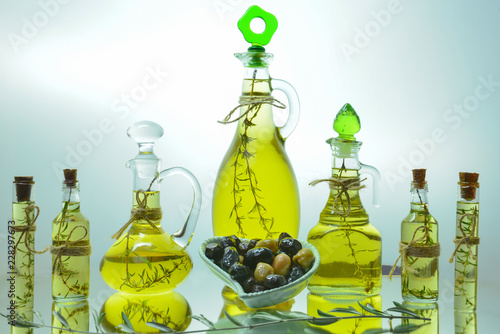In de dag Aromatische natural concept with olive oil bottles with thyme