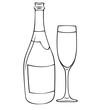 Сontour Illustration of bottle of champagne with glass on white background. Postcard, stickers and logo design.
