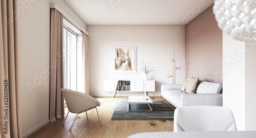 Obraz Blick in Wohnzimmer in einem Neubau Apartment - view inside a living room with sofa - fototapety do salonu