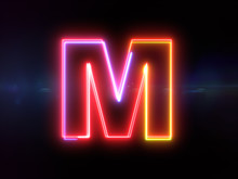 Letter M - Colorful Glowing Ou...