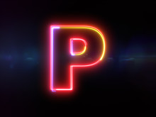 Letter P - Colorful Glowing Ou...