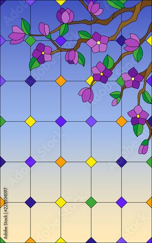 ilustracja-w-stylu-witrazu-z-oddzialu-kwitnacych-drzew-w-oknie