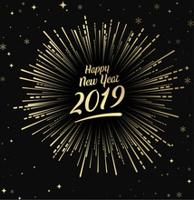 Happy 2019 New Year Card With Gold Firework.
