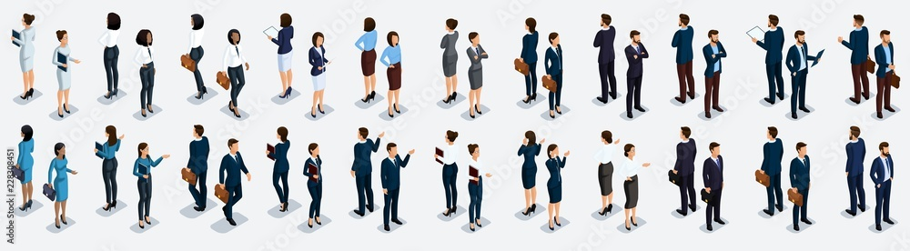 Fototapeta Isometric large set of businessmen and business woman, front view and rear view, vector illustration
