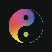 Yin Yan Symbol. Rainbow Color And Dark Background