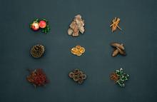 Vertical Top View Dark Blackboard With Pomegranate,cinnamon,pine Cones,natural Christmas Concept.Xmas Winter Holiday Season Social Media Card Background