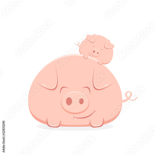 Big and Little Happy Pigs Wallpaper Mural