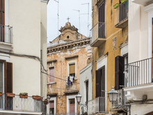 Colorful, Bright Houses And Buildings, Streets And Sights Of The Fabulous City Of Bari, Italy. Travel And Vacation Concept