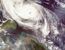 Typhoon Phanfone Affecting Japan.  Satellite View. Elements Of This Image Furnished By NASA.