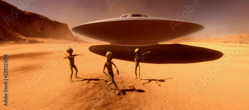 Photo sur Toile UFO Extremely detailed and realistic high resolution 3d illustration feauturing 3 dancing Grey Aliens on a Mars like planet