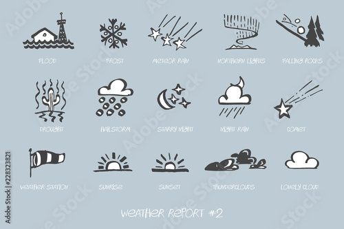 Fotografie, Obraz Weather Report hand drawn vector icon set