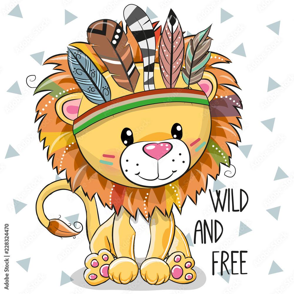 Fototapeta Cute Cartoon tribal Lion with feathers
