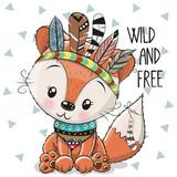 Fototapeta Fototapety na ścianę do pokoju dziecięcego - Cute Cartoon tribal Fox with feathers
