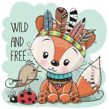 Cute Tribal Fox And Bird With ...