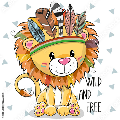 cute-cartoon-tribal-lion-with-feathers