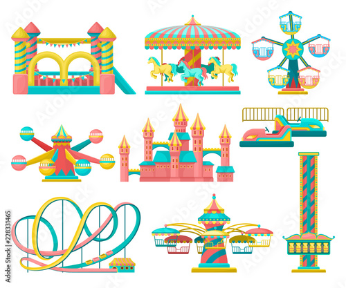 Fényképezés Amusement park design elements set, merry go round, inflatable trampoline, free