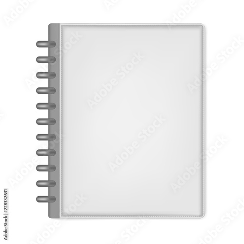 Photo Closed hardcover leather disc bound notebook letter size, mock up