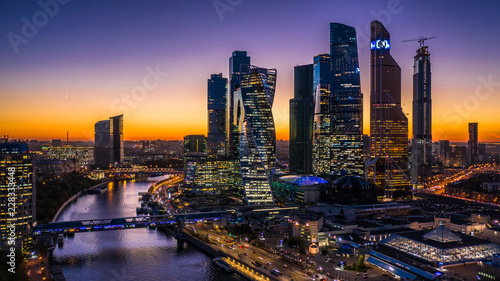 Aerial view sunset over Moscow City district and Moscow river, Russia Canvas Print