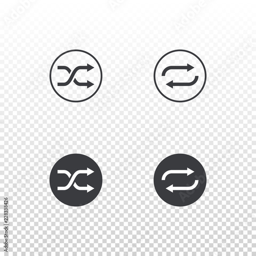 Fotografie, Obraz  Shuffle and loop icon isolated on transparent background