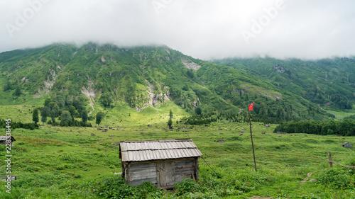 Fotobehang Wit Gorgit highland with old houses and green valley in Blacksea region, Artvin, Turkey