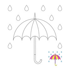 Drawing Worksheet For Preschool Kids With Easy Gaming Level Of Difficulty. Simple Educational Game For Kids. Illustration Of Umbrella And Raindrops For Toddlers