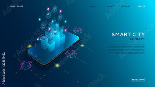 Fotografía  Concept of smart city with IoT