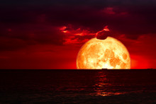 Half Blood Moon On Night Sea And Back Silhouette Red Cloud