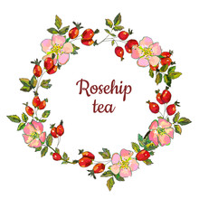 Rosehip Frame For The Tea Label Or Card, Vector Graphic Illustration