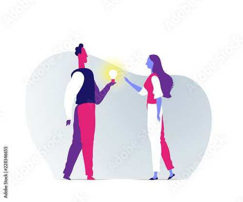 Obraz A man gives a bright idea to a girl - fototapety do salonu