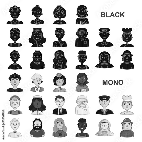 People of different professions black icons in set collection for design. Worker and specialist vector symbol stock web illustration.